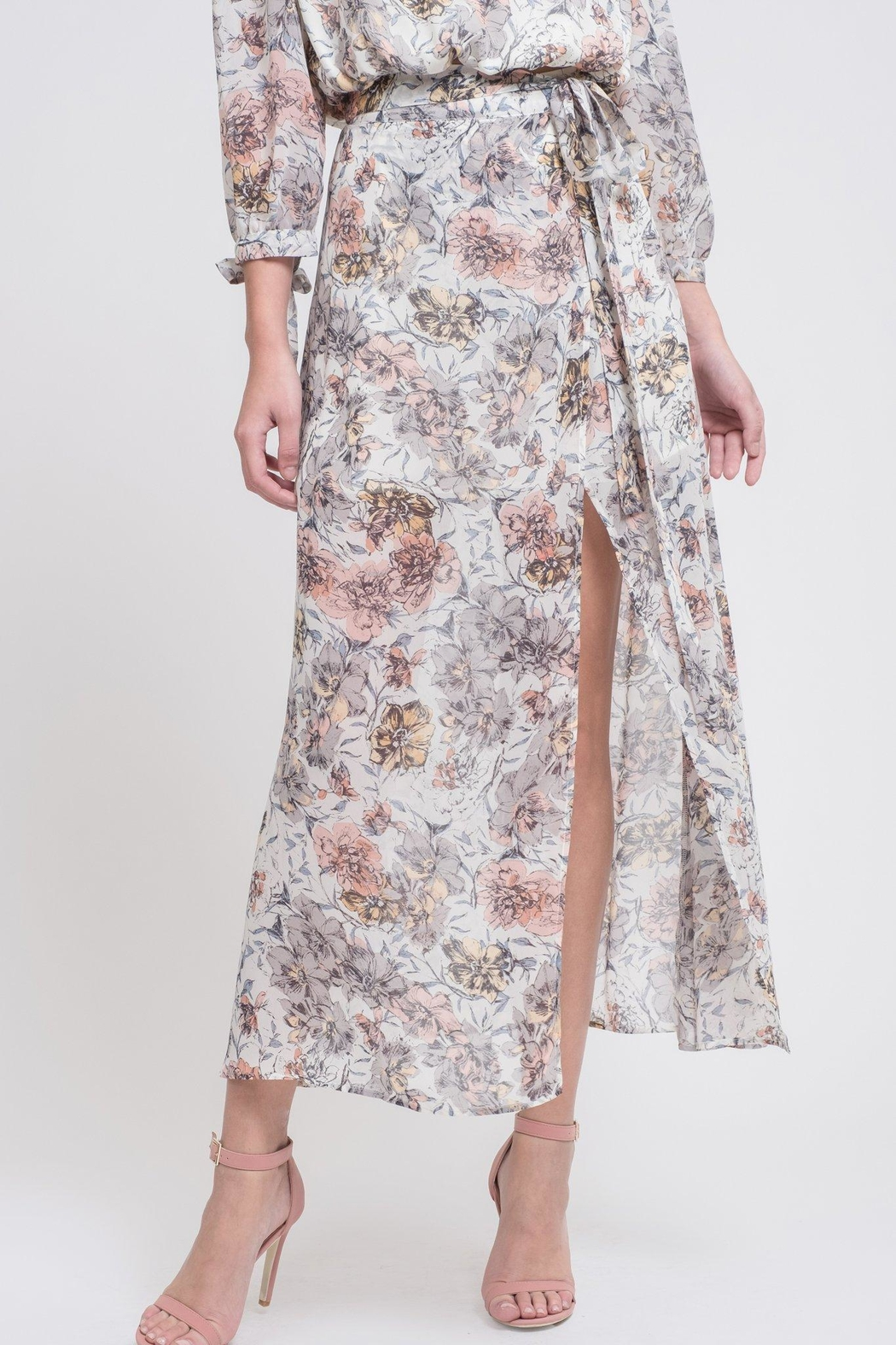 J.O.A. Floral Maxi Skirt - Front Cropped Image