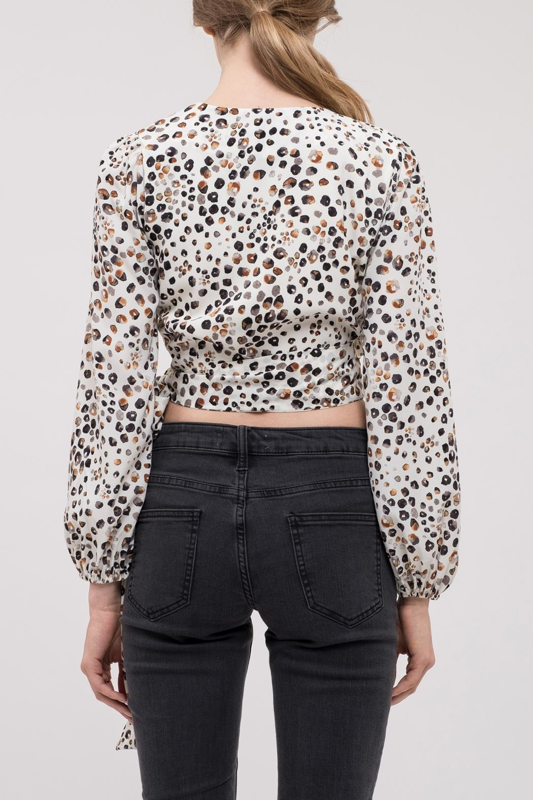 J.O.A. Leopard Wrap Top - Front Full Image