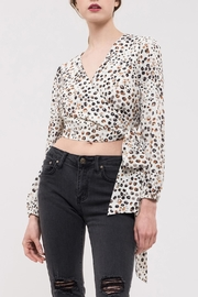 J.O.A. Leopard Wrap Top - Front cropped