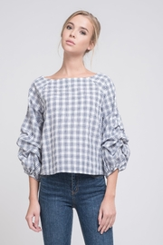 J.O.A. Plaid Puff Top - Product Mini Image