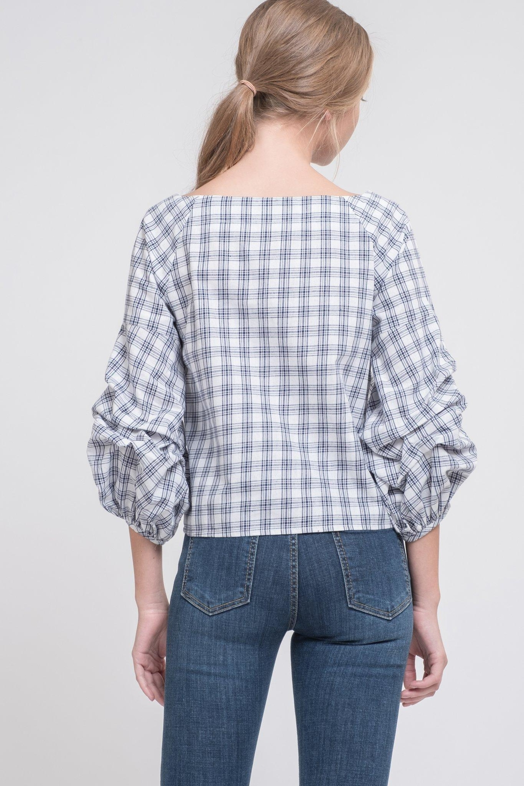 J.O.A. Plaid Puff Top - Front Full Image