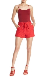J.O.A. Red Lace Shorts - Front cropped