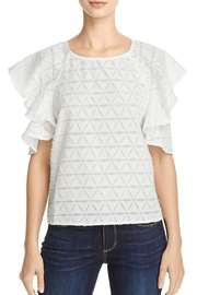 J.O.A. Tiered Cold Shoulder Top - Front cropped