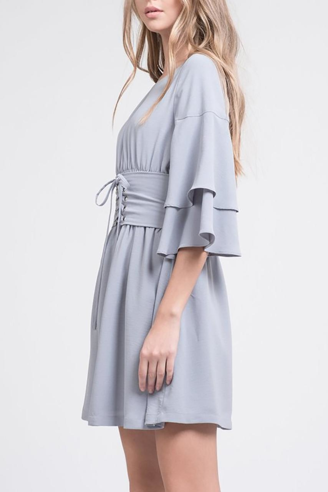 J.O.A. Tiered-Sleeve Corset Dress - Front Full Image