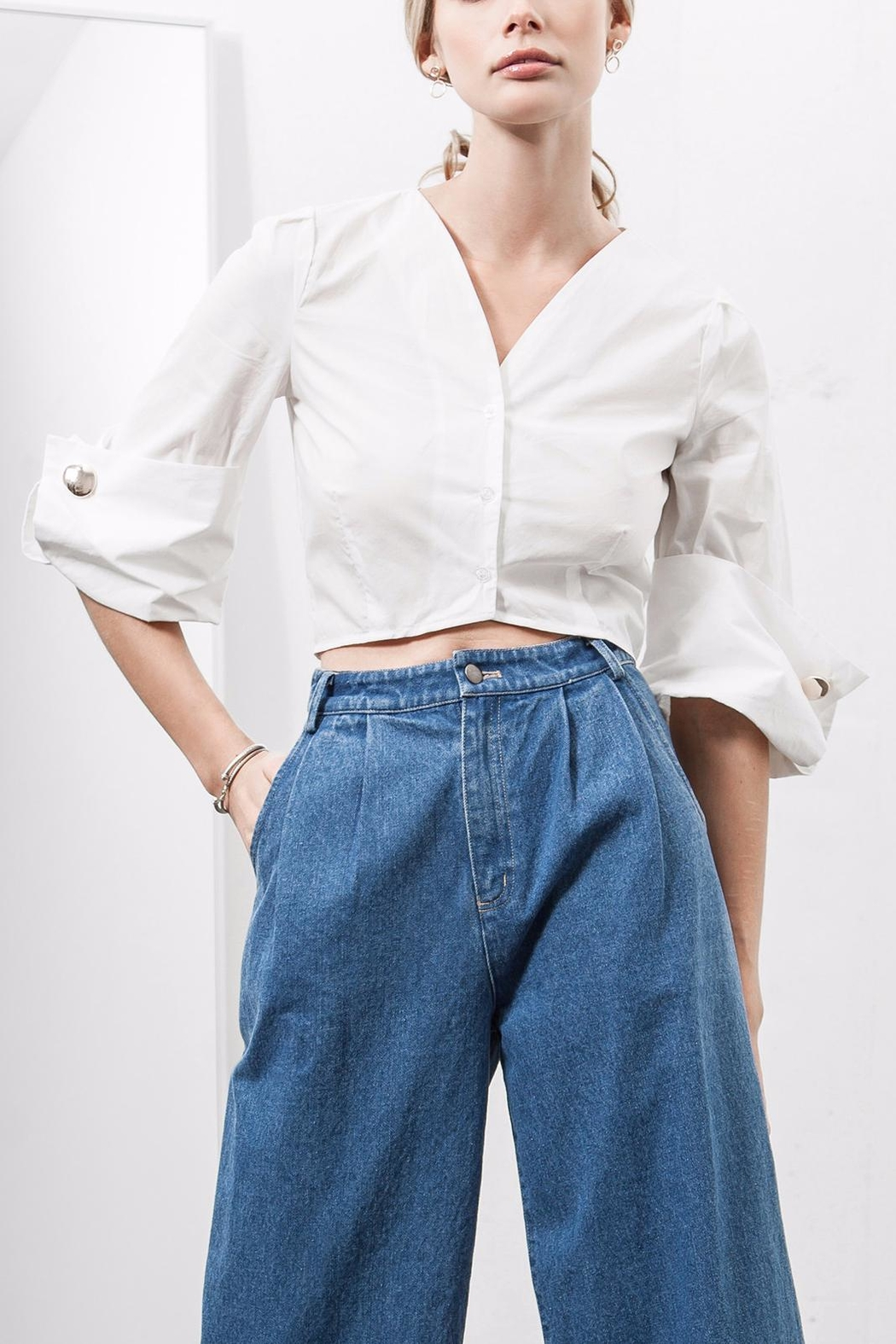 J.O.A. Wide Cuff Cropped Shirt - Main Image