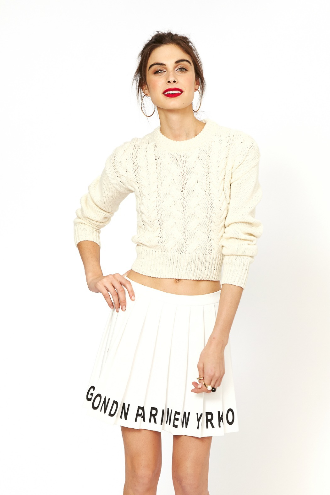 J.O.A. Cropped Cable Sweater - Main Image