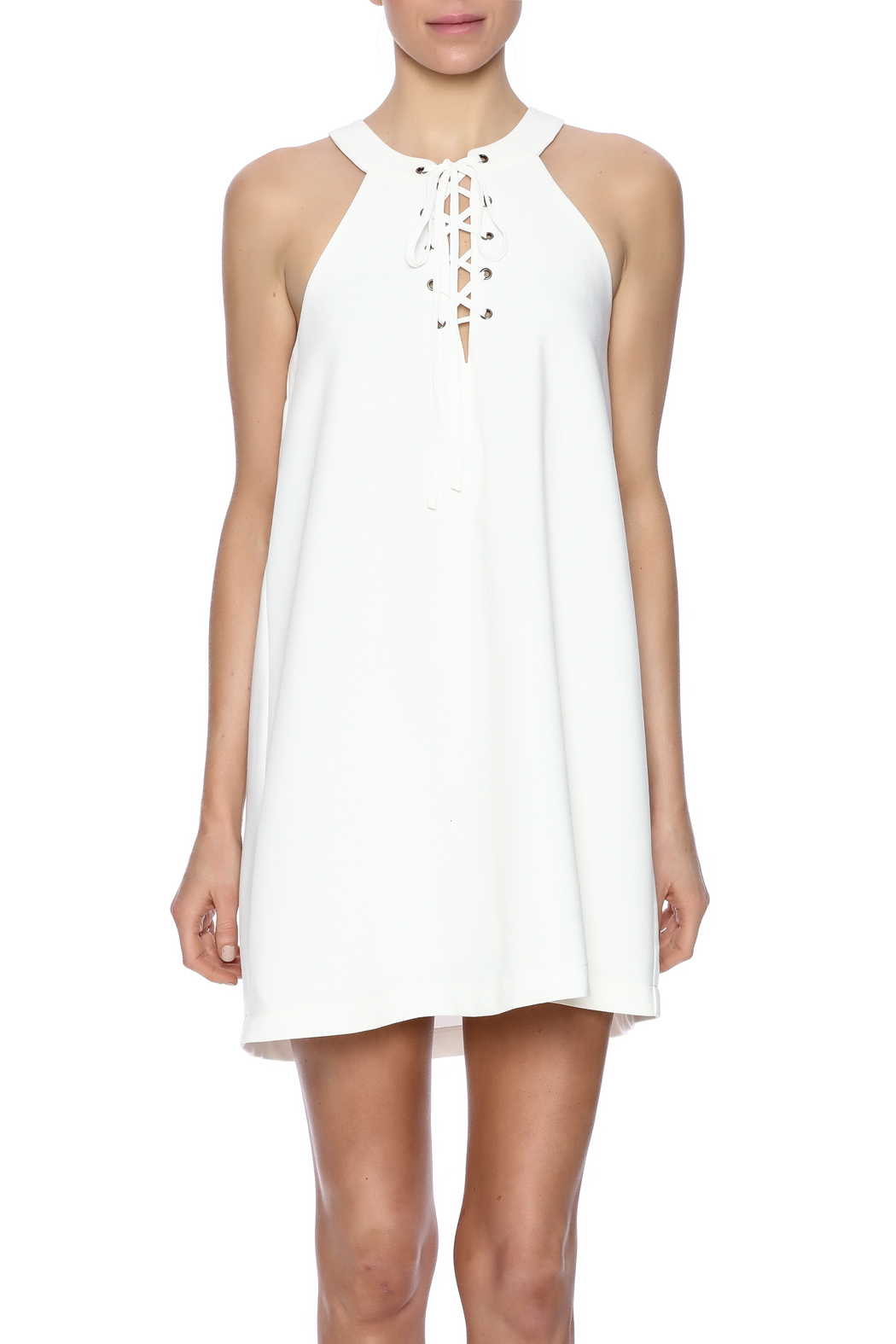 J.O.A. Lace Up Dress - Side Cropped Image