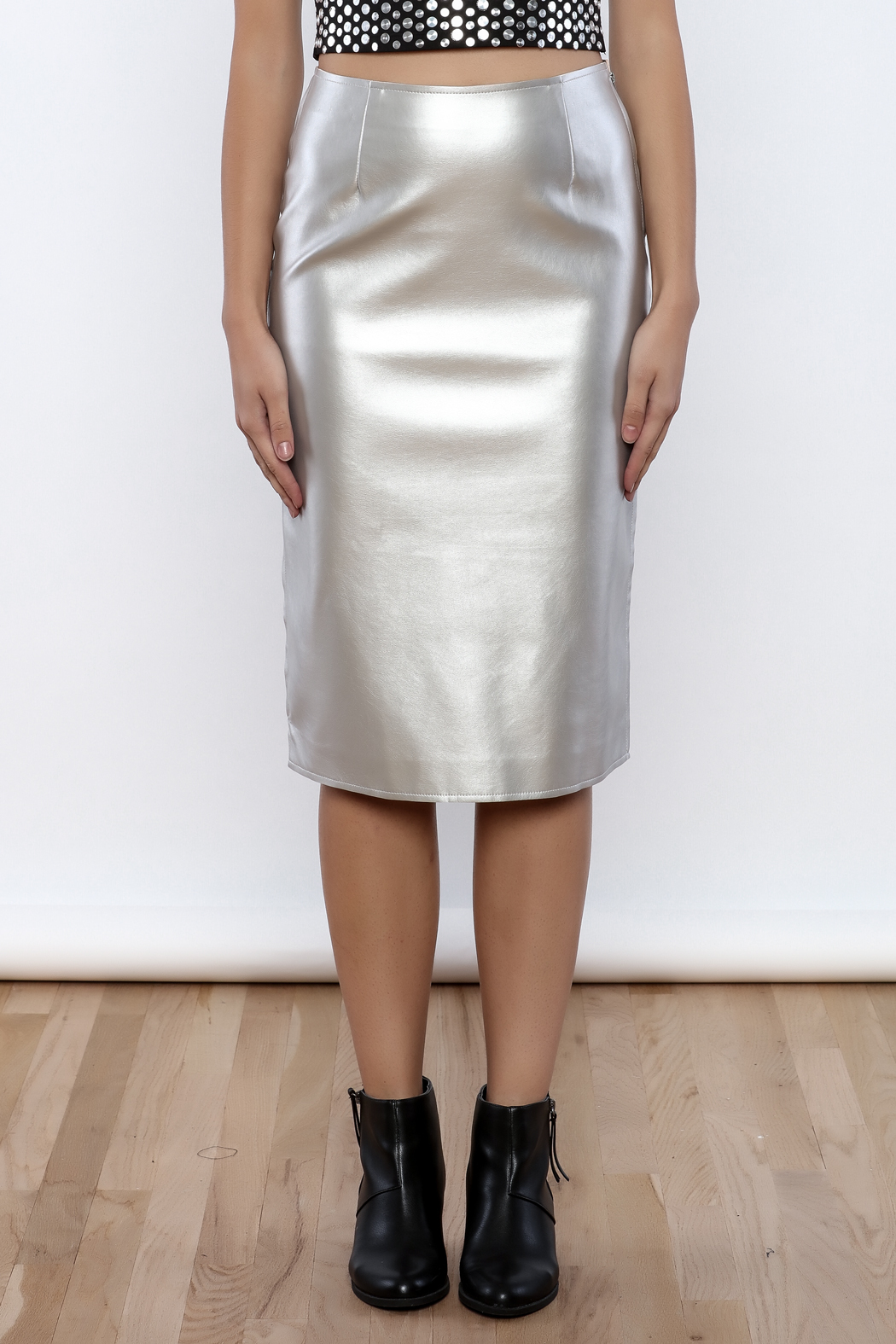 J.O.A. FAux Leather Pencil Skirt - Side Cropped Image