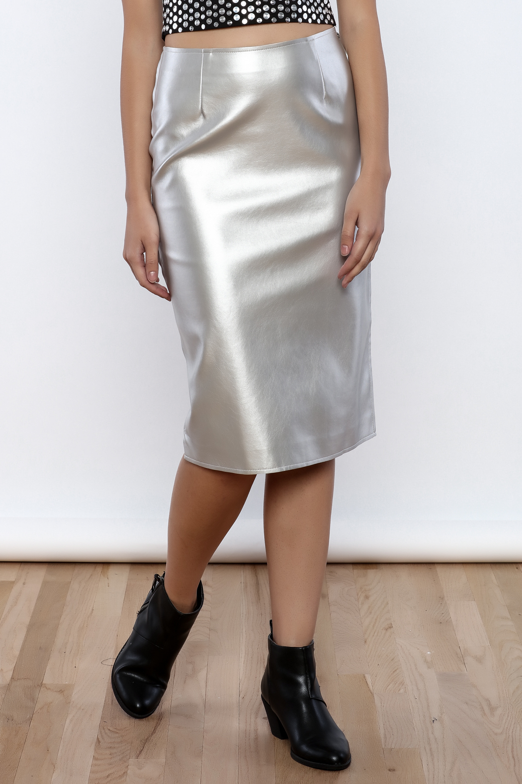 J.O.A. FAux Leather Pencil Skirt - Main Image