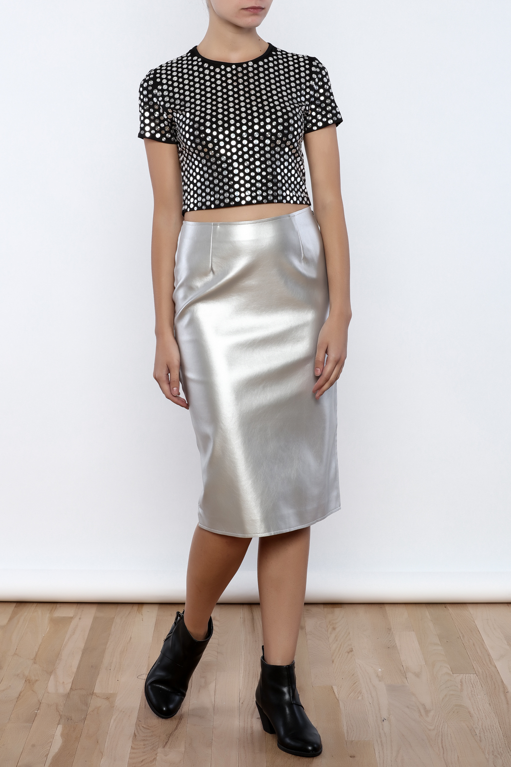 J.O.A. FAux Leather Pencil Skirt - Front Full Image