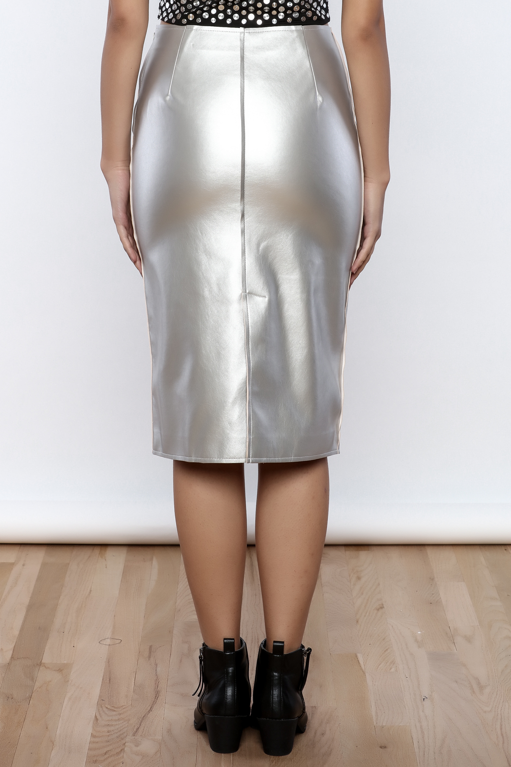 J.O.A. FAux Leather Pencil Skirt - Back Cropped Image