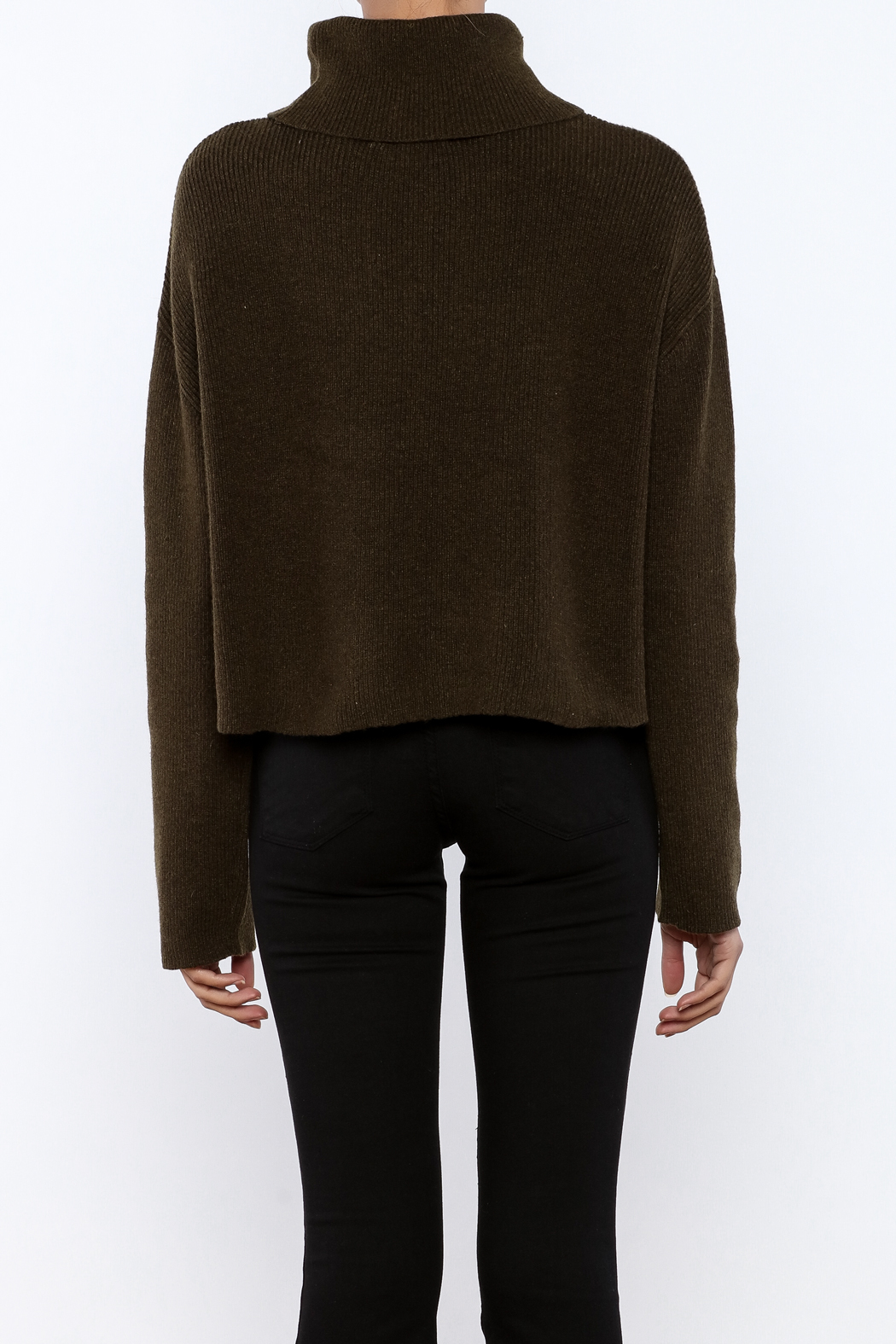 J.O.A. Turtleneck Crop Sweater - Back Cropped Image