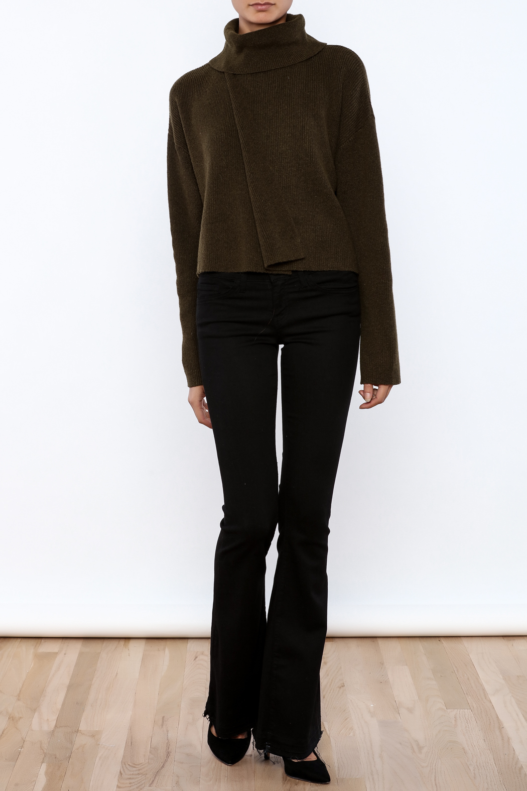 J.O.A. Turtleneck Crop Sweater - Front Full Image