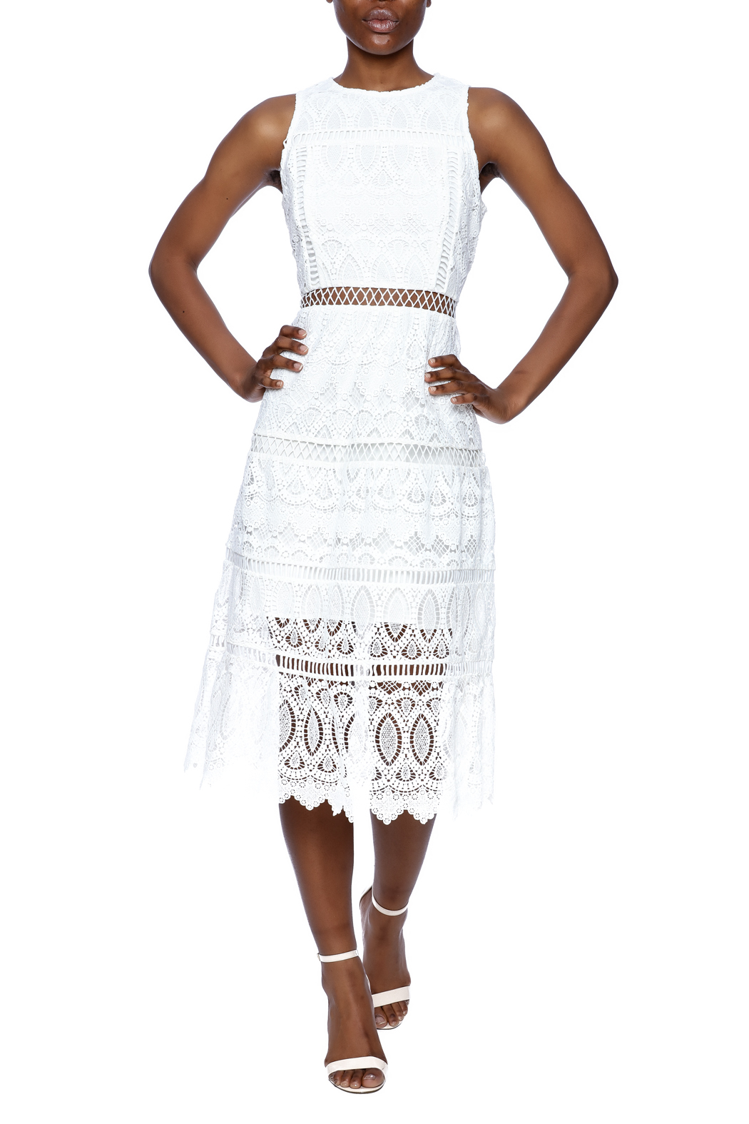 J.O.A. White Lace Dress - Front Full Image