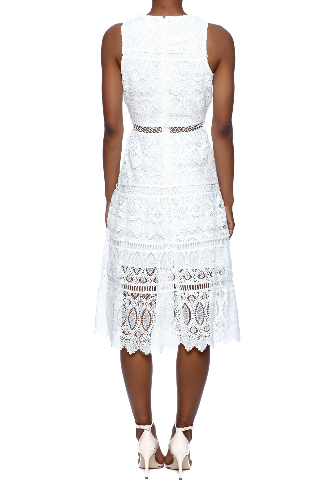 J.O.A. White Lace Dress - Back Cropped Image