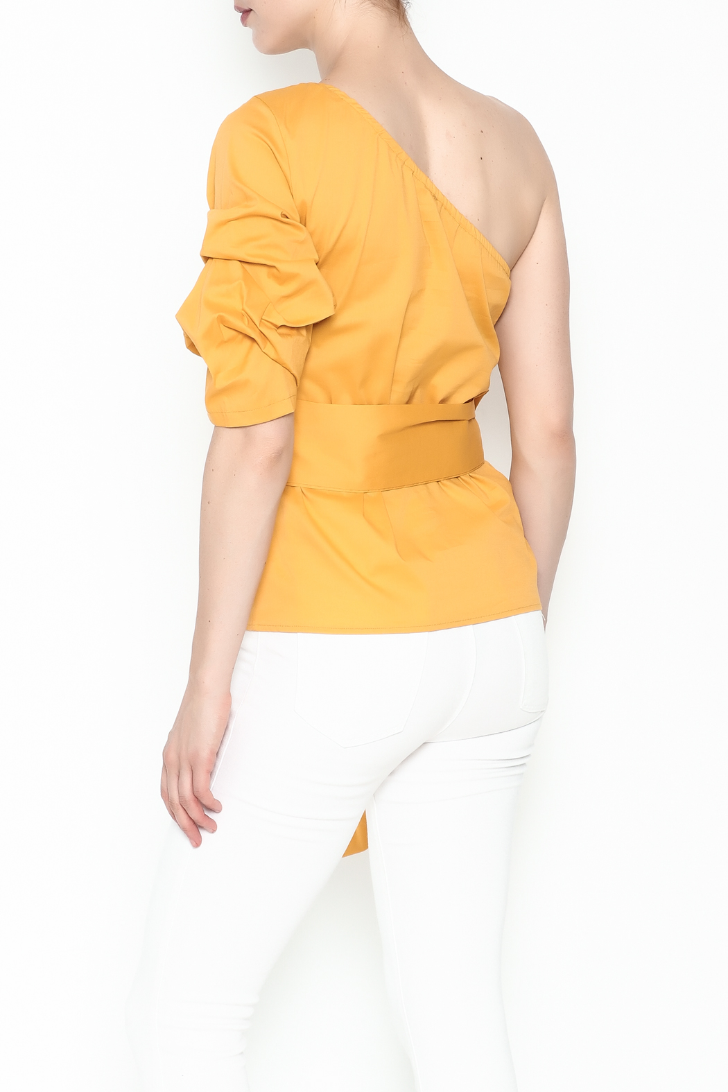 J USA One Shoulder Top - Back Cropped Image