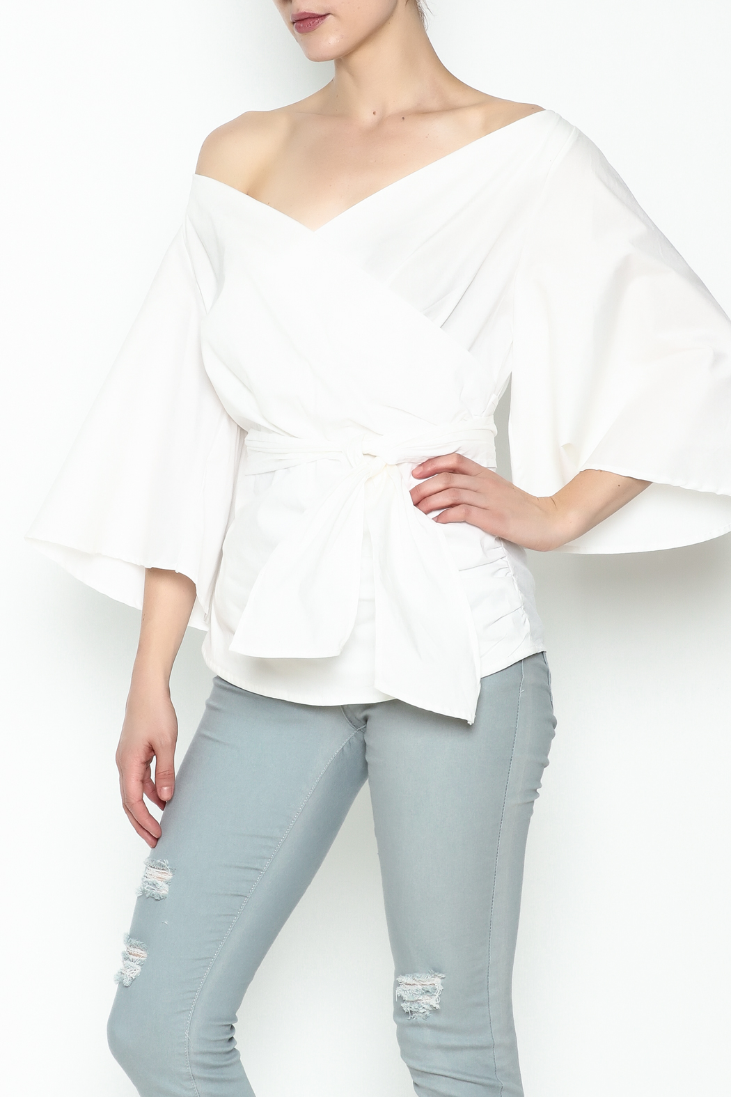 J USA Wrap Waist Top - Front Cropped Image