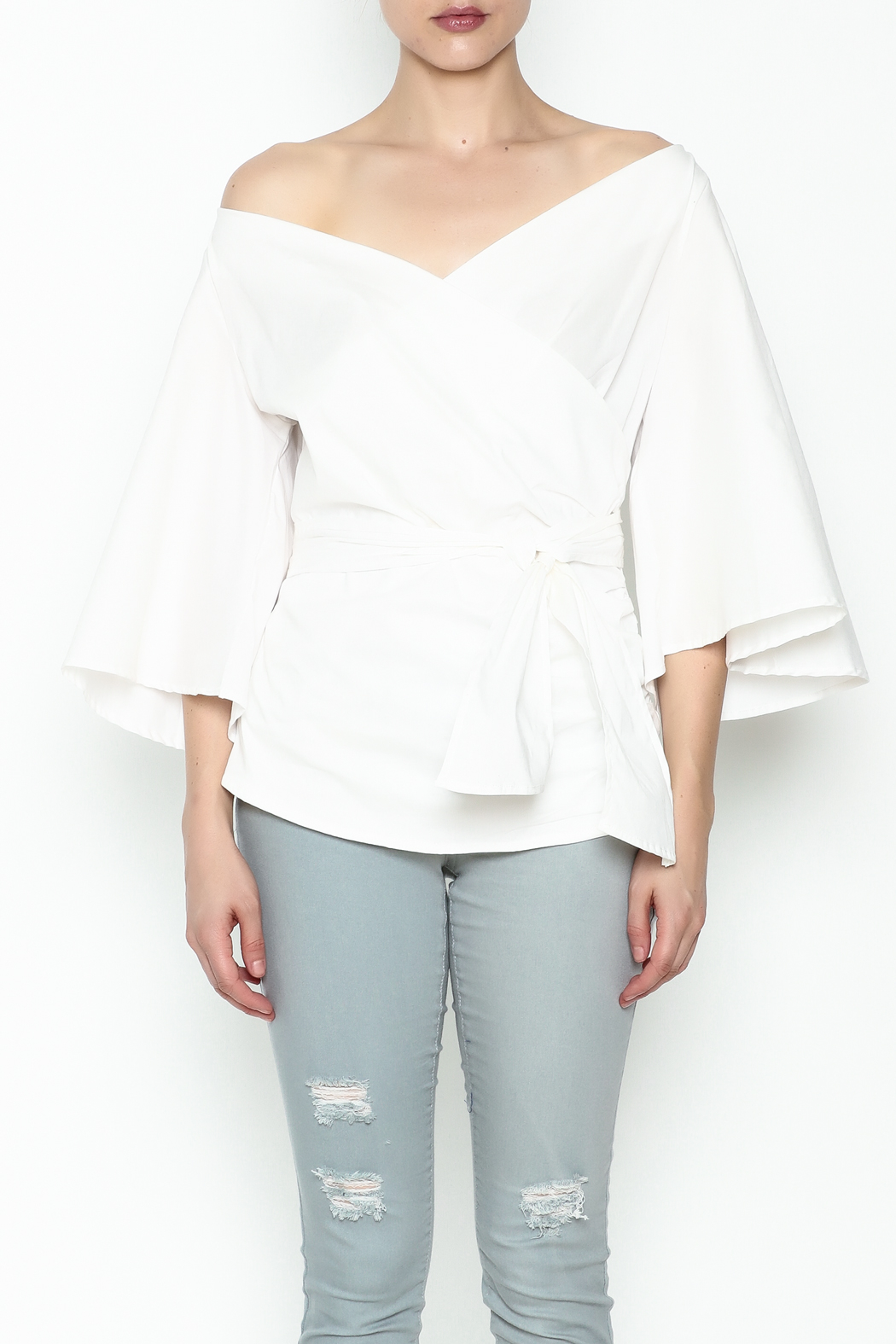 J USA Wrap Waist Top - Front Full Image
