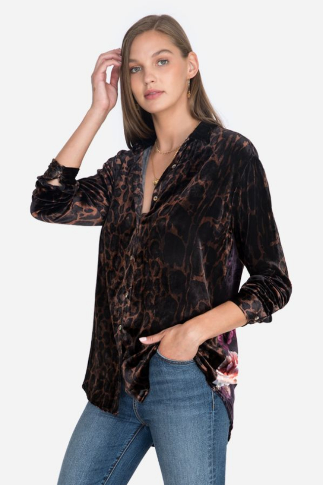 Johnny Was J10620-O - Velvet Oversized Shirt - Front Cropped Image