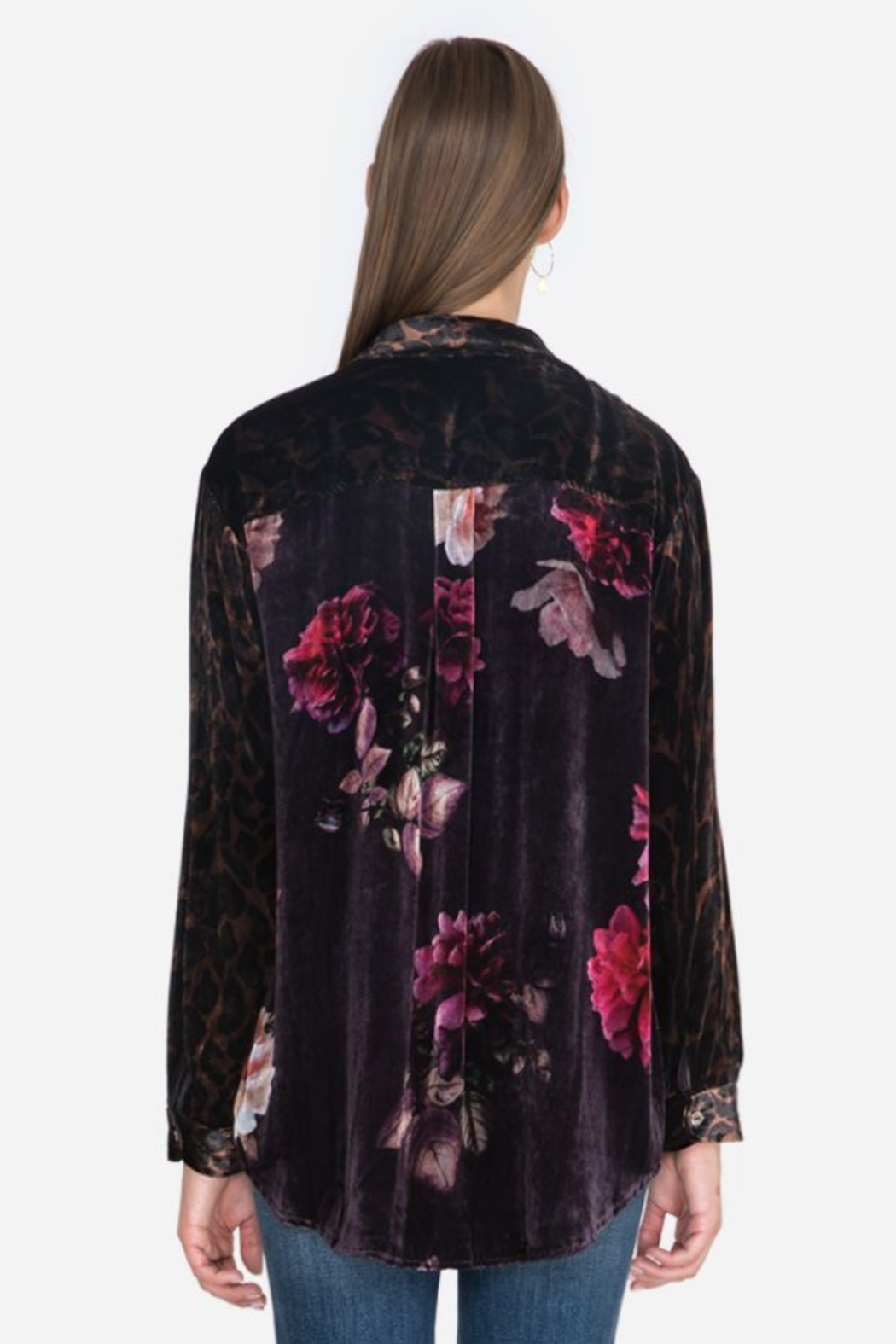 Johnny Was J10620-O - Velvet Oversized Shirt - Front Full Image