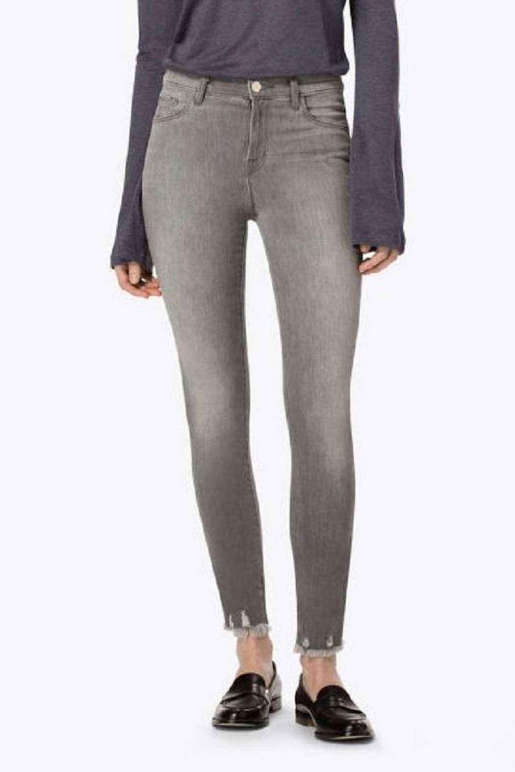 J Brand  Grey Skinny Jeans - Front Cropped Image