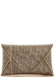 J Brand  Oversized Metallic Clutch - Front cropped