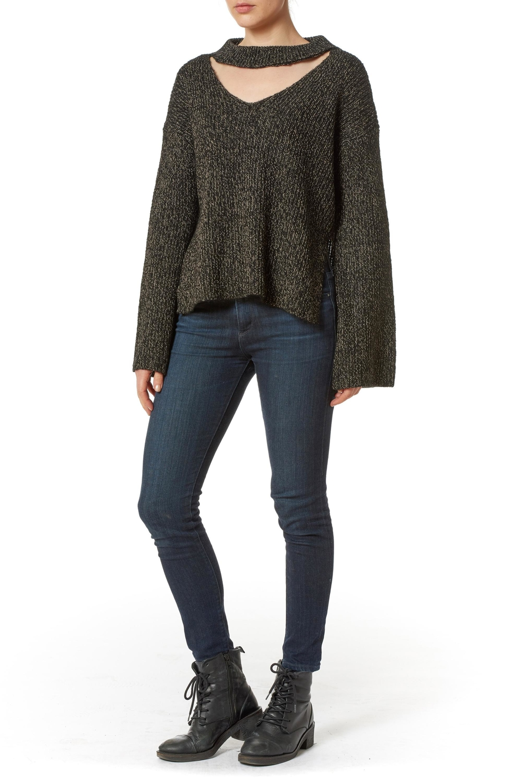 J HARPER Choker Collar Sweater - Front Cropped Image
