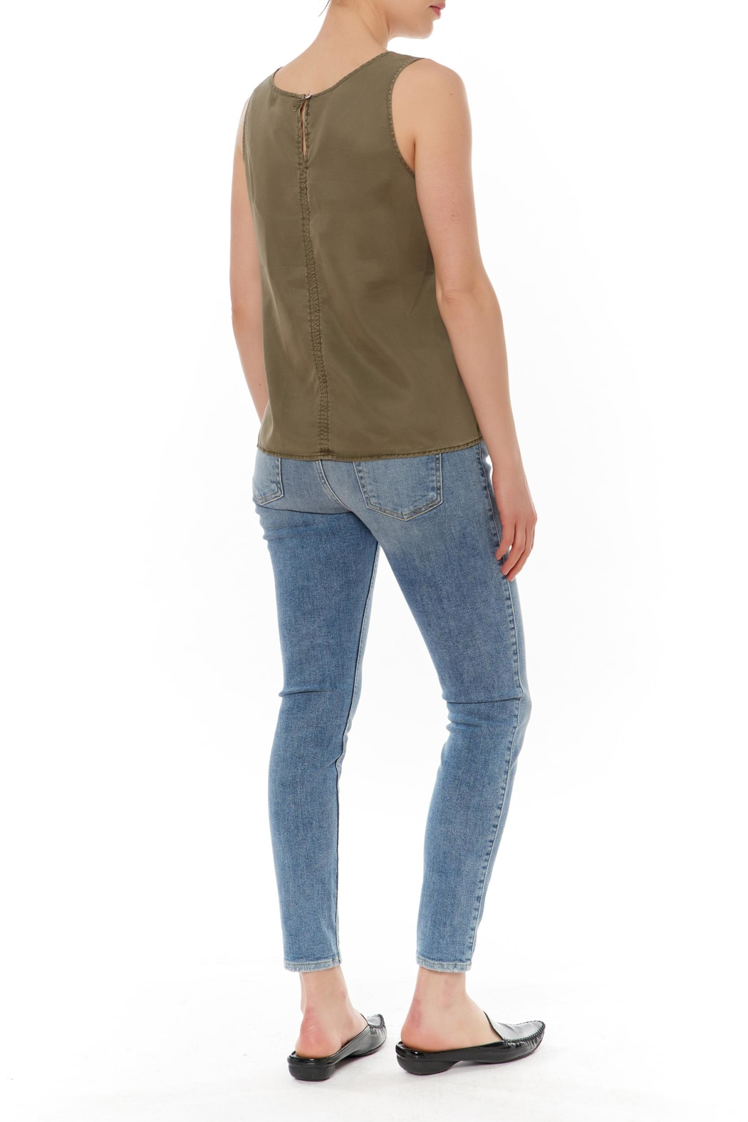J HARPER Sleeveless Olive Top - Front Full Image