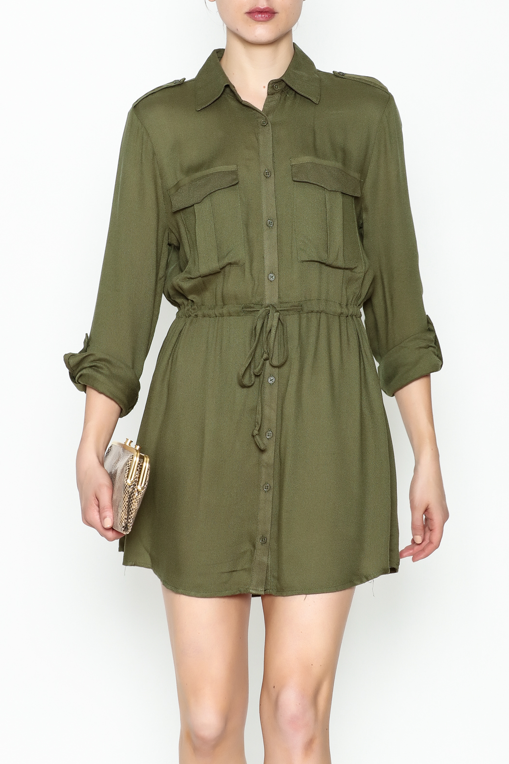 Jack by BB Dakota Olive Green Shirt Dress - Front Cropped Image