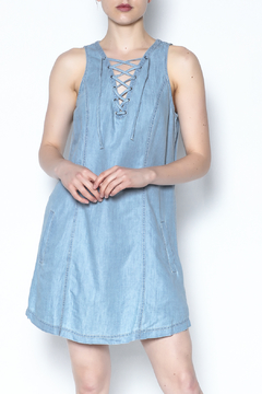 Shoptiques Product: Tie Front Denim Dress