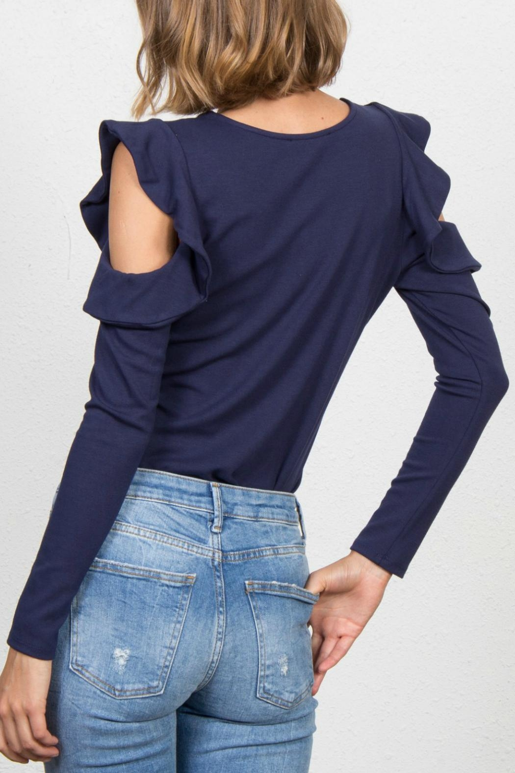 Jack Meets Kate Ruffle Cold-Shoulder Top - Side Cropped Image