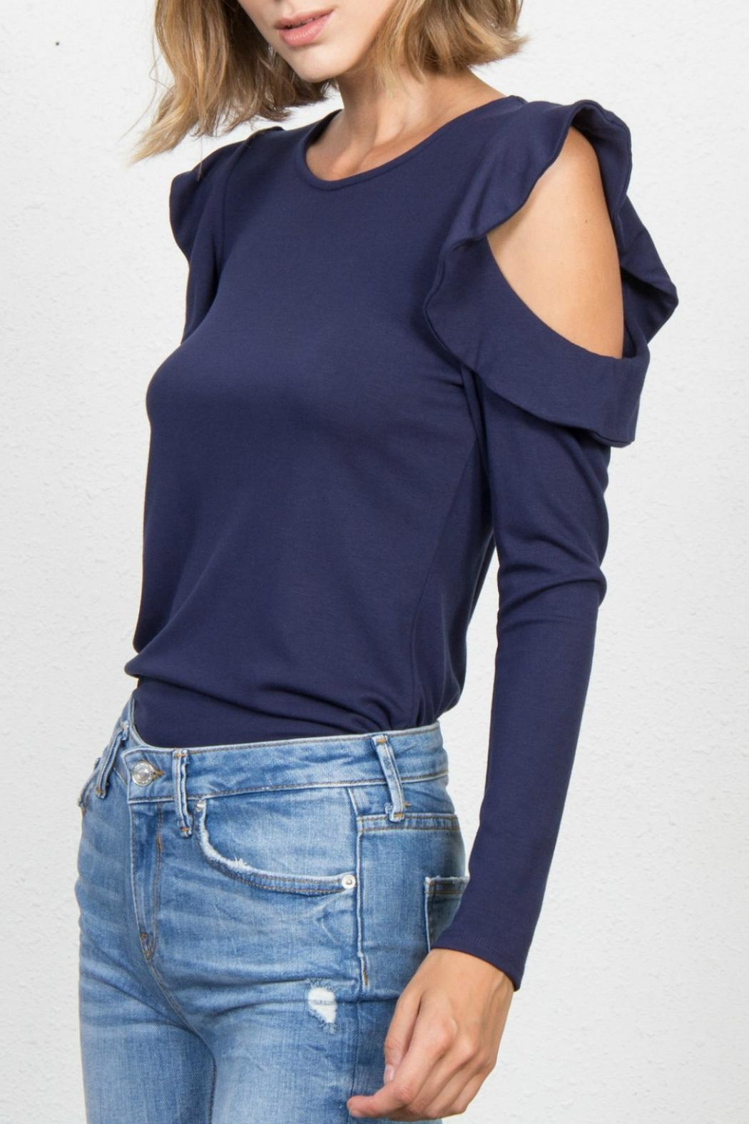 Jack Meets Kate Ruffle Cold-Shoulder Top - Front Full Image