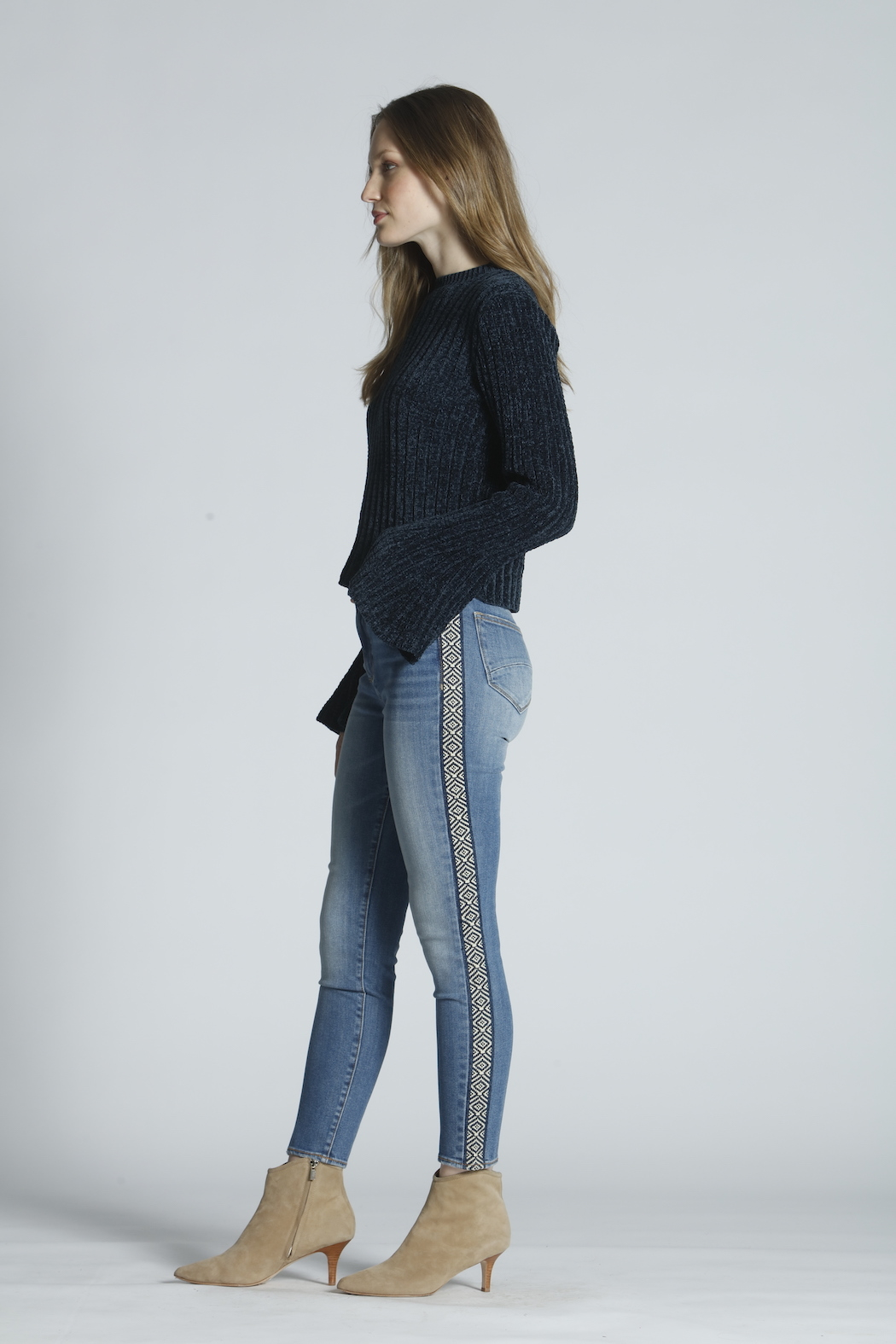 Driftwood Jackie High Rise Tetris Jeans - Front Full Image