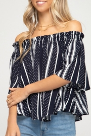 She + Sky Jackie Off-The-Shoulder Top - Front full body