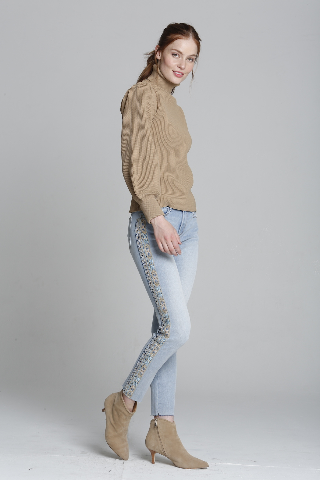 Driftwood Jackie X Blue Taupe Embroidered Jeans - Main Image