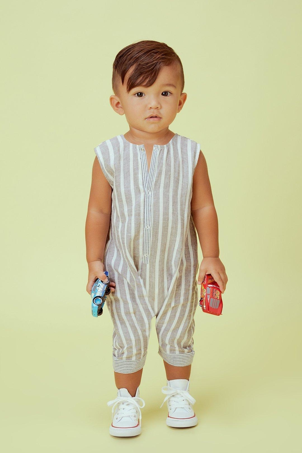 Lil Lemons Jackson Stripe Onesie - Front Cropped Image