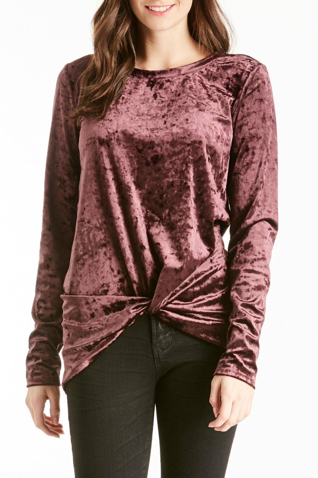 Another Love Jackson Velvet Knot Top - Front Cropped Image
