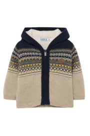 Mayoral Jacquard Lined Zip Up Sweater - Product Mini Image