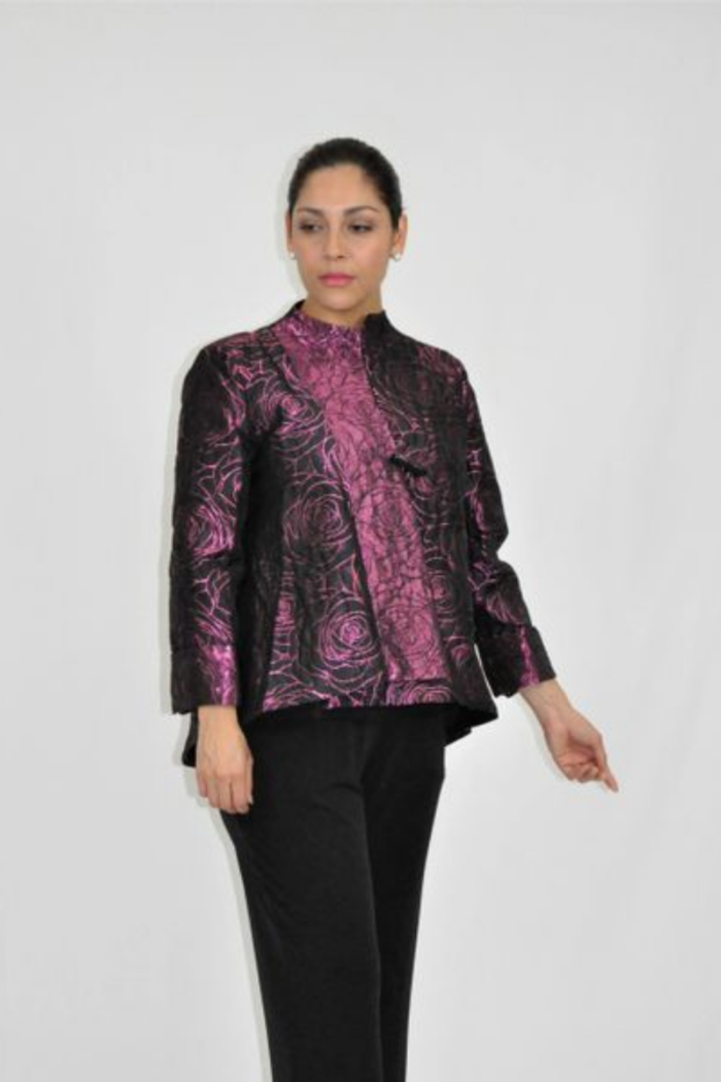 IC Collection Jacquard One Button Jacket -  3806J - Main Image