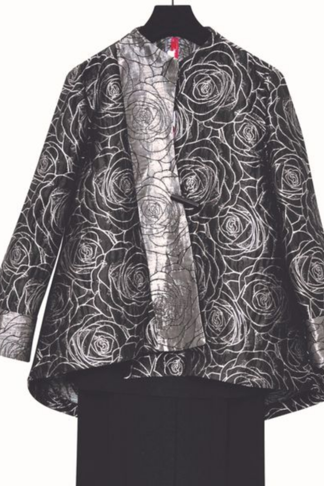 IC Collection Jacquard One Button Jacket -  3806J - Front Cropped Image