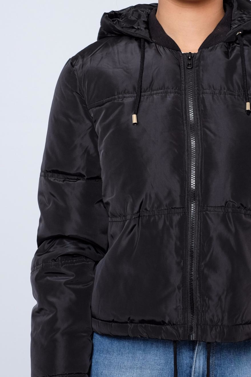 Jacqueline de Yong Cropped Hooded Puffer - Back Cropped Image
