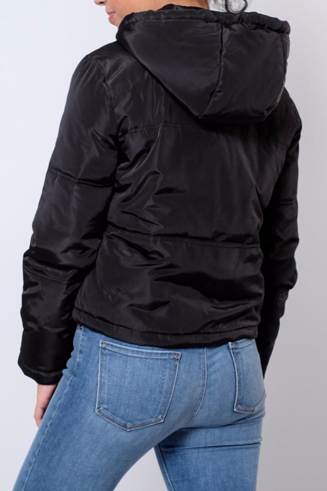 Jacqueline de Yong Cropped Hooded Puffer - Side Cropped Image