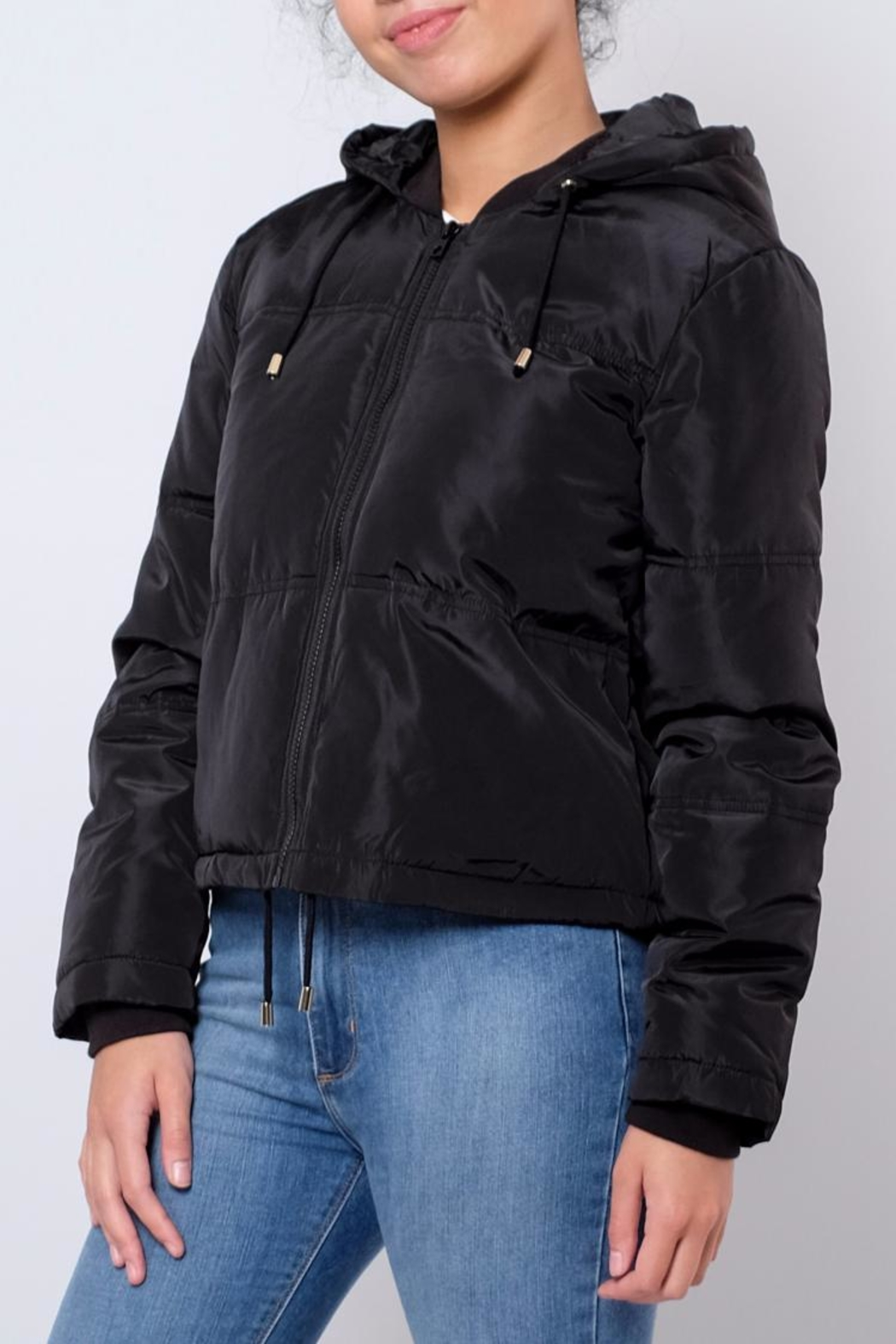 Jacqueline de Yong Cropped Hooded Puffer - Main Image