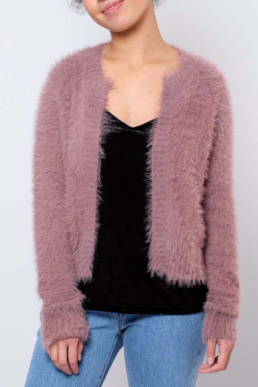 Jacqueline de Yong Fuzzy Cardigan - Front Cropped Image