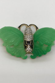 Kenneth Jay Lane Jade Butterfly Brooch - Product Mini Image