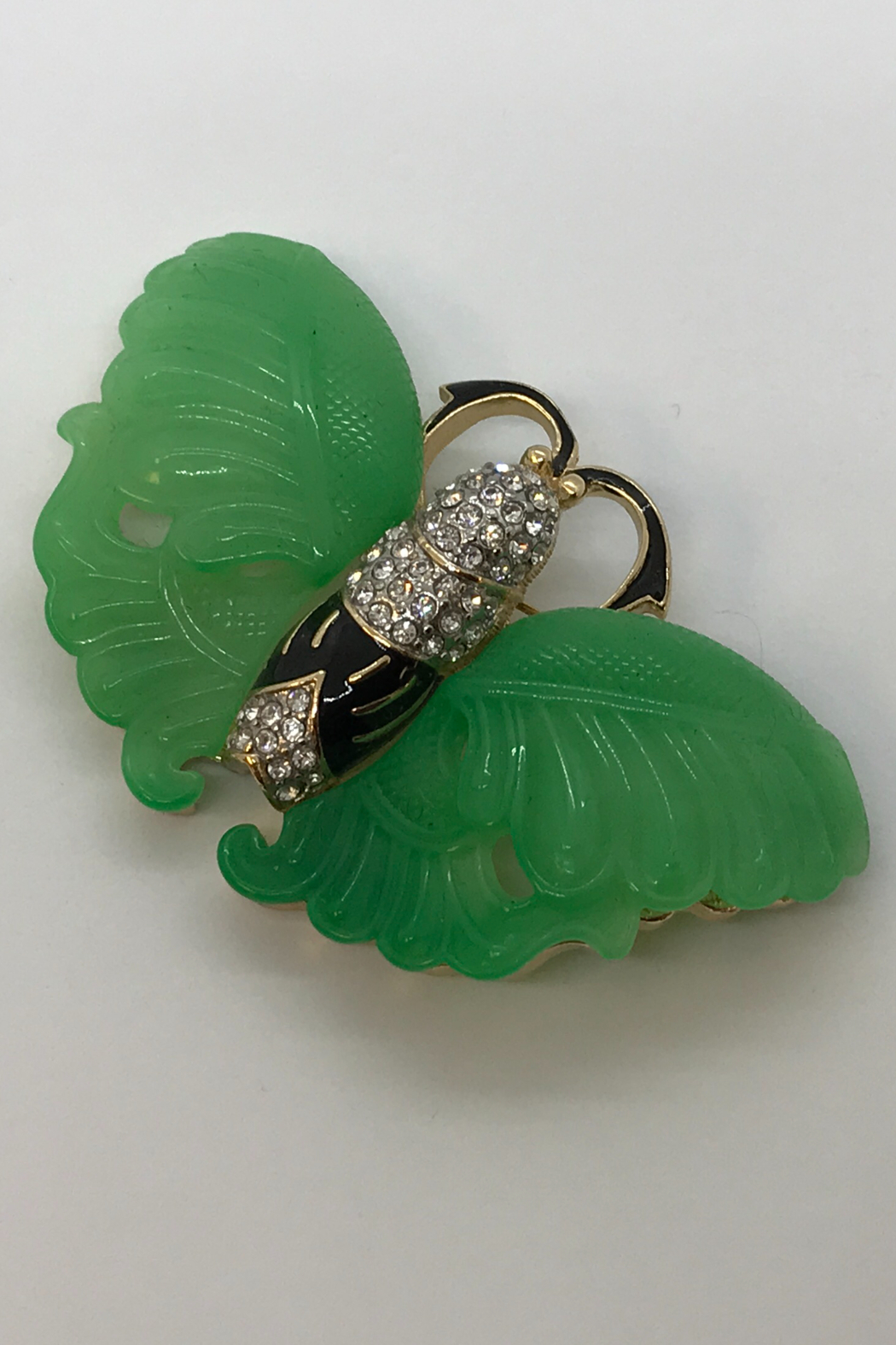 Kenneth Jay Lane Jade Butterfly Brooch - Front Full Image