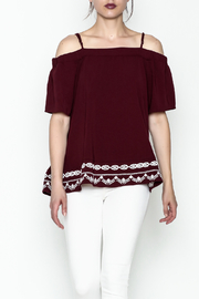Jade Embroidered Cold Shoulder Top - Product Mini Image