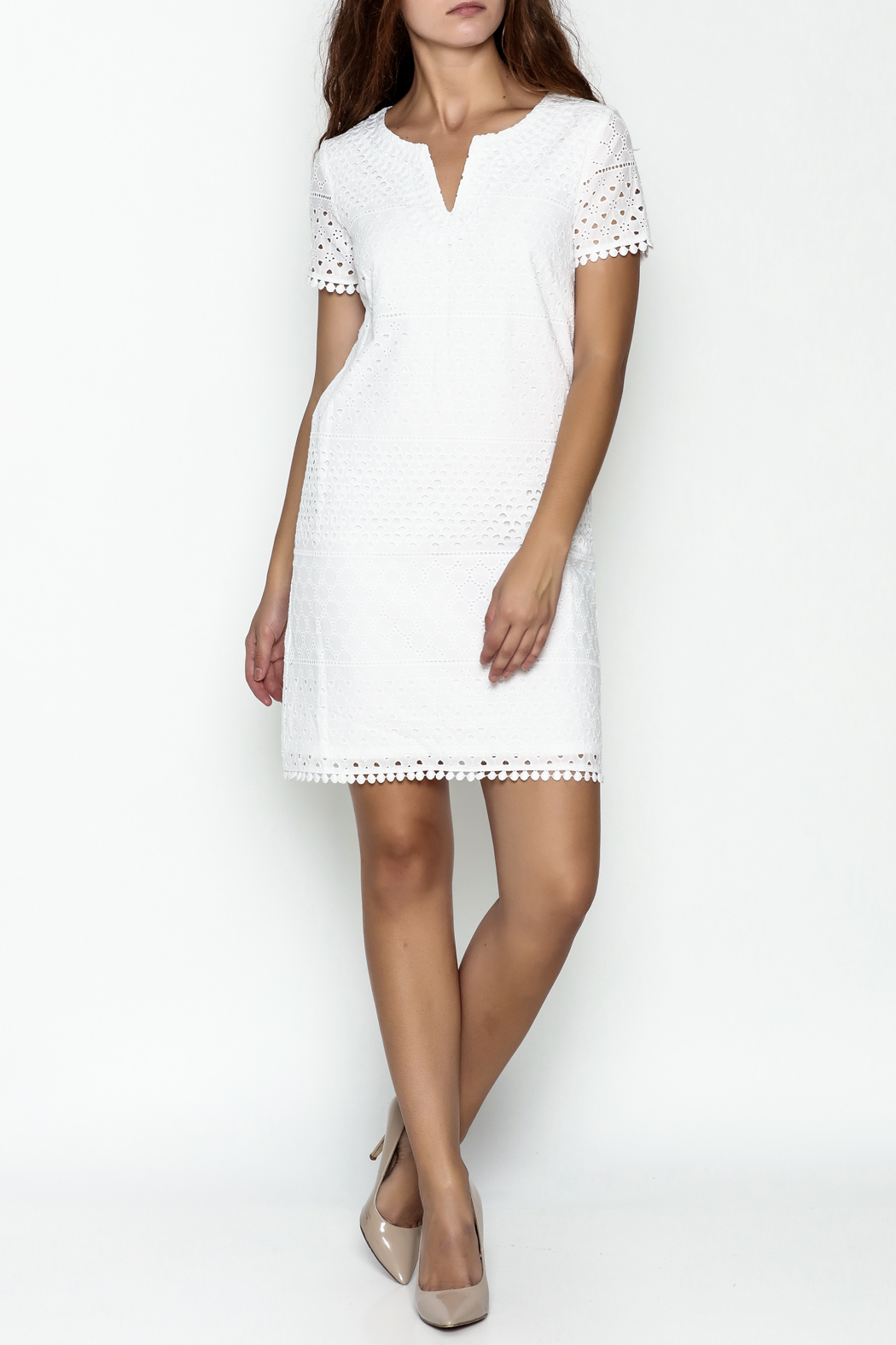 Jade Eyelet Cap Sleeve Dress - Side Cropped Image