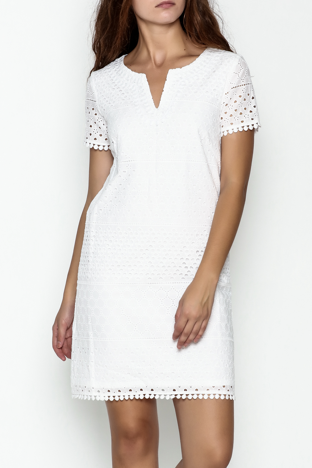 Jade Eyelet Cap Sleeve Dress - Main Image
