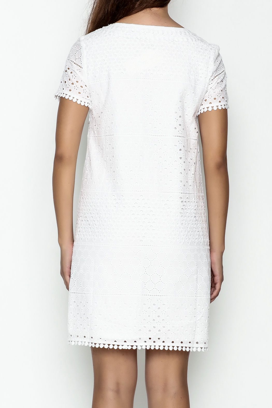 Jade Eyelet Cap Sleeve Dress - Back Cropped Image